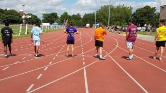 100m start line at Kent School Games